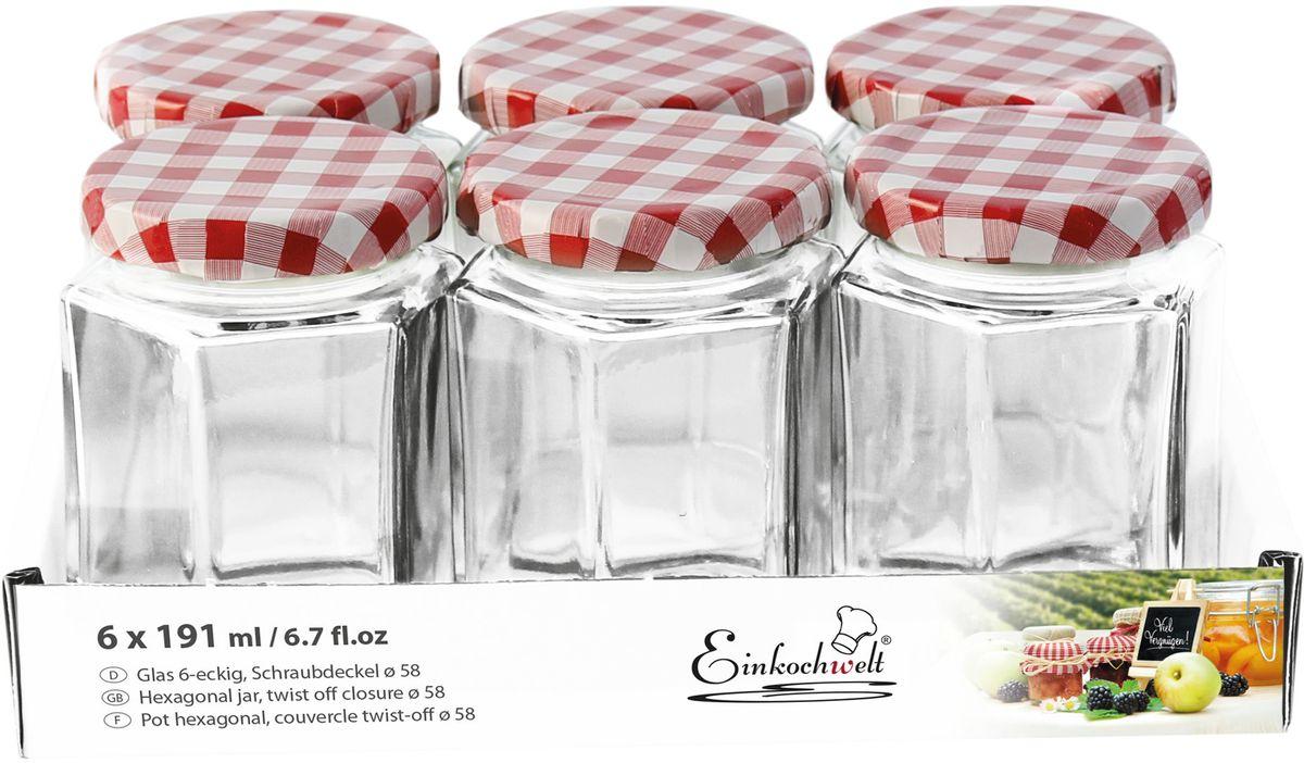 Набор банок для сыпучих продуктов Einkochwelt Twist, с металлическими крышками, 191 мл, 6 шт344483Набор состоит из семи стеклянных банок объемом 45 мл с завиничивающимися крышками. Они предназначены для хранения сыпучих продуктов и консервации. Такие крышки сделают процесс приготовления домашних заготовок легким и приятным, а также обеспечат надежное хранение готовых продуктов. Оригинальная форма банок позволит им стать не только полезными изделиями, но и украшением интерьера вашей кухни.