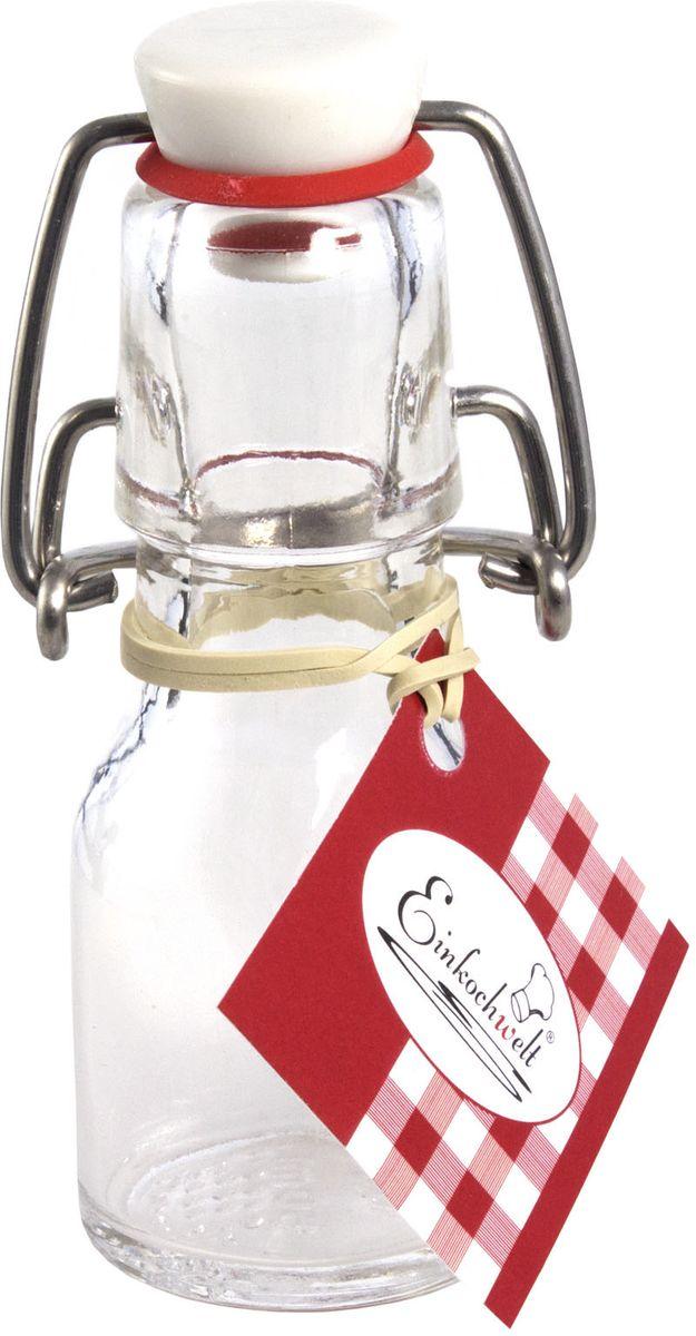 Бутылка Einkochwelt, с пробкой, 50 мл346395Стеклянная бутылка объемом 50 мл с пробкой и зажимом предназначена для хранения и консервации соков, сиропов и других домашних напитков. Зажим обеспечит герметичность сосуда, что надежно сохранит свежесть и качество вашего продукта. Оригинальная форма бутылки позволит ей стать не только полезным изделием, но и украшением интерьера вашей кухни.