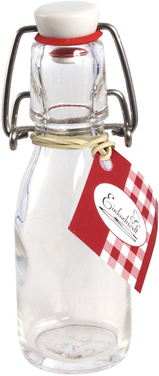 Бутылка Einkochwelt, с пробкой, 100 мл346401Стеклянная бутылка объемом 100 мл с пробкой и зажимом предназначена для хранения и консервации соков, сиропов и других домашних напитков. Зажим обеспечит герметичность сосуда, что надежно сохранит свежесть и качество вашего продукта. Оригинальная форма бутылки позволит ей стать не только полезным изделием, но и украшением интерьера вашей кухни.