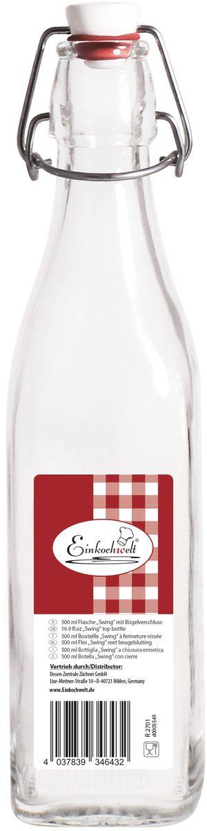 Бутылка Einkochwelt, с пробкой, 500 мл346432Стеклянная бутылка объемом 500 мл с пробкой и зажимом предназначена для хранения и консервации соков, сиропов и других домашних напитков. Зажим обеспечит герметичность сосуда, что надежно сохранит свежесть и качество вашего продукта. Оригинальная форма бутылки позволит ей стать не только полезным изделием, но и украшением интерьера вашей кухни.