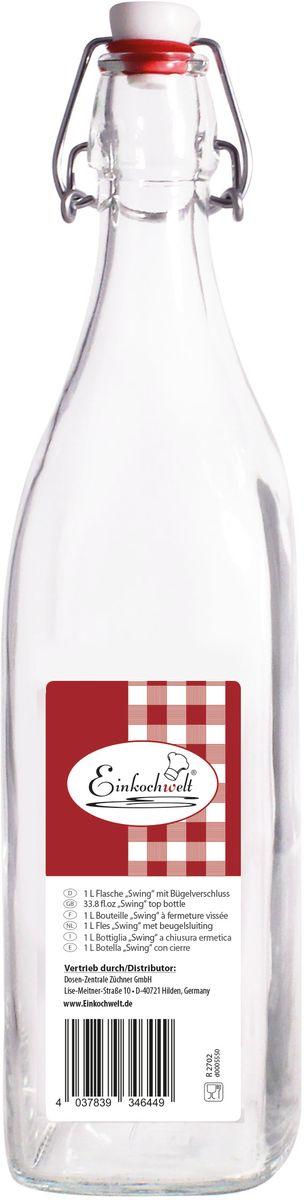 Бутылка Einkochwelt, с пробкой, 1 л346449Стеклянная бутылка объемом 1 л с пробкой и зажимом предназначена для хранения и консервации соков, сиропов и других домашних напитков. Зажим обеспечит герметичность сосуда, что надежно сохранит свежесть и качество вашего продукта. Оригинальная форма бутылки позволит ей стать не только полезным изделием, но и украшением интерьера вашей кухни.