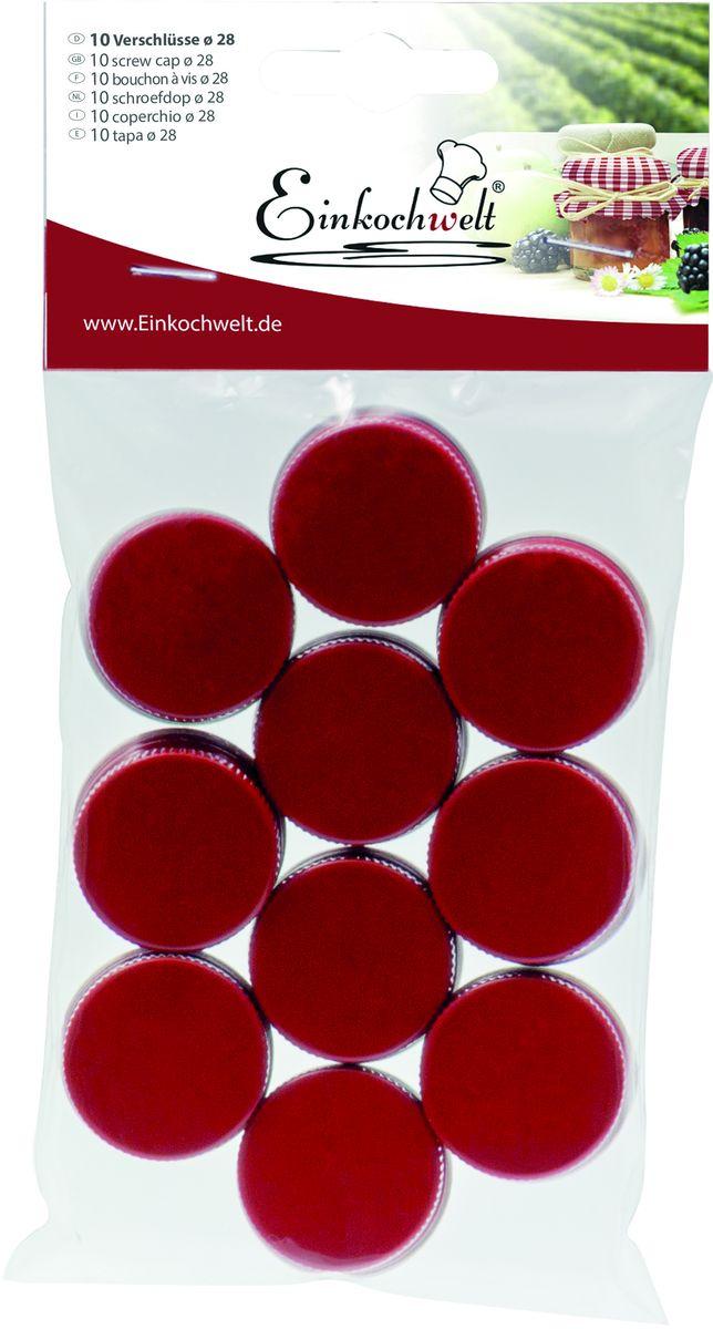 Набор крышек для бутылок Einkochwelt, 2,8 см, 10 шт346845Набор состоит из 10 винтовых крышек для бутылок диаметром 28 мм. Они предназначены для закупорки различных напитков и обеспечивают надежное хранение и качество содержимого продукта.