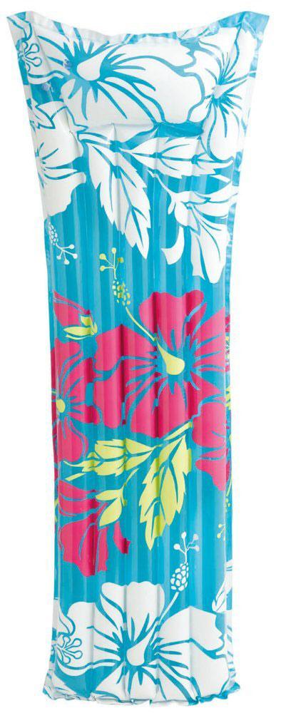Надувной матрас Intex Красочный, цвет: синий, 183 х 69 см. с59720с59720Надувной матрас Intex с подголовником содержит две воздушные камеры, которые не позволят плавучему средству утонуть даже в том случае, если одна из них спустится. Идеально подходит для отдыха на пляже. Может быть использован как летний спальный матрас. Стильный и яркий дизайн никого не оставит равнодушным. Надувной пляжный матрас - это идеальное решение для отдыха на воде, он подарит радость, удовольствие и комфорт для веселого времяпрепровождения. Насос в комплект не входит.