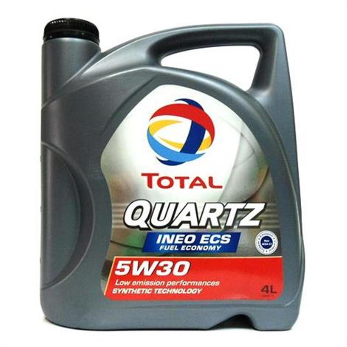 Моторное масло Total Quartz Ineo ECS 5w-30, 4 л151510Моторное масло нового поколения с пониженной сульфатной зольностью и низким содержанием фосфора и серы, специально разработанное для двигателей PEUGEOT и CITROEN. Это высокотехнологичное масло позволяет экономить топливо и оптимизирует функционирование систем контроля над выпуском загрязняющих веществ в атмосферу, например, дизельных сажевых фильтров.Одобрения • QUARTZ INEO ECS - это единственный смазочный материал с пониженной сульфатной зольностью и низким содержанием фосфора и серы, рекомендуемый изготовителями Peugeot и Citroen: одобрение PSA PEUGEOT & CITROEN B71 2290 • Соответствует техническим требованиям TOYOTA