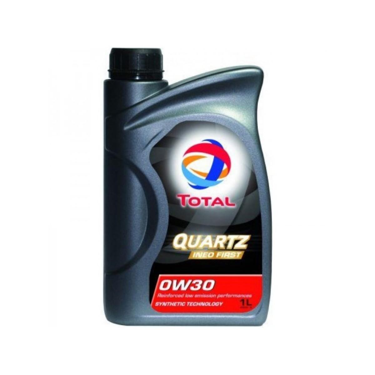 Моторное масло Total Quartz Ineo First 0W30, 1 л183103TOTAL QUARTZ INEO FIRST 0W-30 применяется концерном PSA PEUGEOT CITROEN в качестве моторного масла первой заливки и рекомендуется для послепродажного обслуживания. Моторное масло, разработанное по синтетической технологии, обеспечивает двигатель максимальной защитой от износа и от образования отложений. Благодаря малозольной формуле (низкое содержание серы, фосфора, пониженная зольность) масло обеспечивает долгое и правильное функционирование системы доочистки выхлопных газов, чувствительных к смазочным материалам и дорогих в обслуживании. Применение TOTAL QUARTZ INEO FIRST 0W30 позволяет экономить, не требуя при этом изменения стиля вождения. Подходит для наиболее сложных условий эксплуатации (езда от двери до двери, спортивное вождение, старт-стоп, езда в городе и т.д.). Синтетическая технология Экономия топлива и LOW SAPS Международные спецификации: ACEA C1 и C2 2010 Одобрения автопроизводителей: PSA PEUGEOT CITROEN B71 2312