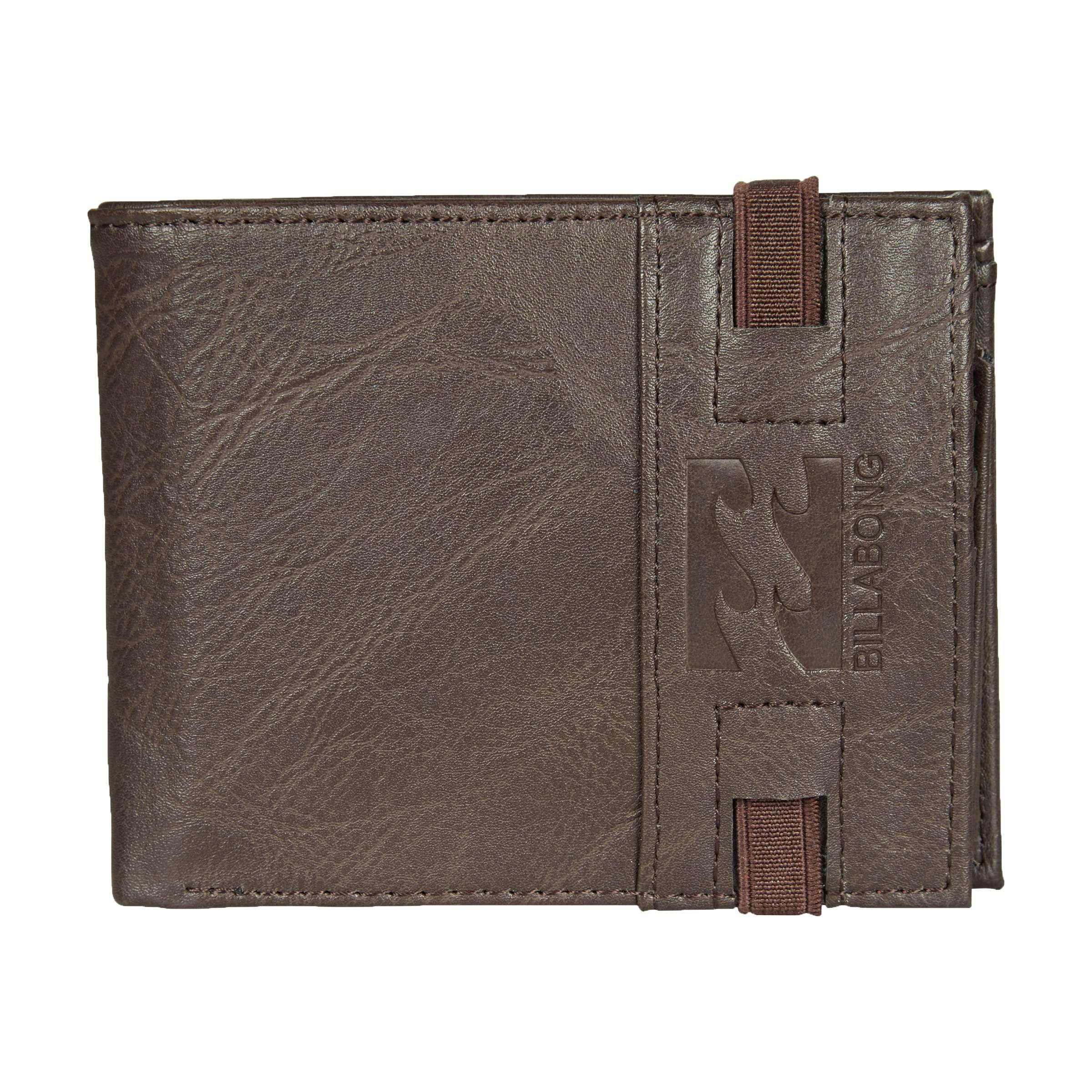 Кошелек Billabong Locked Wallet, цвет: коричневый. 36078693696433607869369643Кошелек с застежкой на резинке с логотипом Billabong . Карман для мелочи на молнии отделения для карточек.
