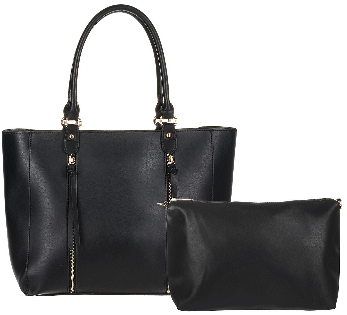 Сумка женская DDA, цвет: черный, 2 шт. BS-3003BS-3003 BlackЖенская сумка DDA выполнена из качественной искусственной кожи. В комплекте 2 сумочки: большая с двумя ручками и маленькая с наплечным ремнем. Большая сумка имеет одно вместительное отделение и застегивается на молнию. Лицевая часть оформлена двумя декоративными молниями. Сумка не содержит дополнительных карманов. Маленькая сумочка имеет съемный плечевой ремень, содержит одно отделение и застегивается на молнию. Внутри отделения расположены два открытых накладных кармана и один врезной. Сумочка легко помещается в большую.