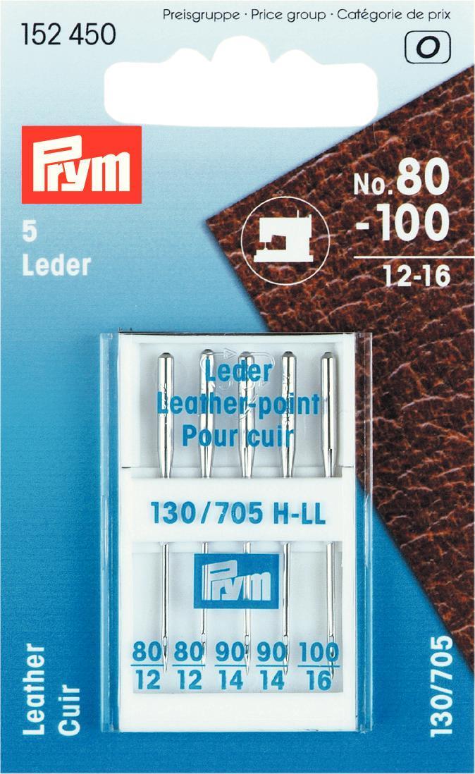 Набор игл для швейных машин Prym, для кожи, №80-100, 5 шт152450