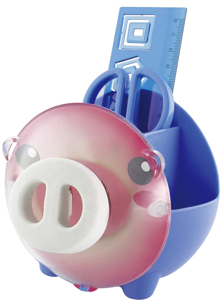 Brauberg Канцелярский набор Пигги цвет синий231934_синийНастольный канцелярский набор Brauberg Пигги из высококачественного яркого пластика в форме поросенка позволяет эргономично и весело организовать место для учебы и развлечений ребенка. Мордочка Пигги может использоваться под фотографию. В набор помимо подставки входят: пластиковые ножницы с безопасными закругленными лезвиями, линейка с трафаретами, скрепки и ластик.