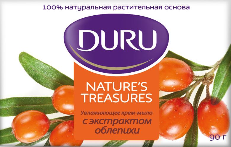Duru Natures Treasures Мыло Облепиха 90г8002957031Крем-мыло Duru Natures Treasures С экстрактом облепихи. Благодаря уникальному сочетанию увлажняющих масел и экстракта облепихи, крем-мыло Duru Natures Treasures делает Вашу кожу сияющей и обновленной. Дарит ощущение увлажнения и смягчения Вашей кожи, делая её шелковистой. Обладает нежным приятным ароматом. Duru Natures Treasures - натуральные рецепты для профессиональной заботы о Вашей коже каждый день.