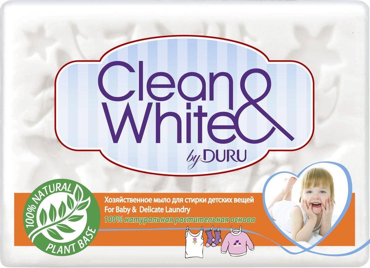Duru Clean&White Хозяйственное Мыло для стирки детского белья 125г8000327681Хозяйственное мыло Duru подходит для любого использования: от стирки до личной гигиены. Это мыло можно использовать как в холодной, так и в горячей воде, оно не вызывает аллергии,а благодаря содержанию глицерина и смягчающими компонентами, обеспечивает коже дополнительный уход.. Белоснежного цвета,с легким приятным запахом. Гипоаллергенное.