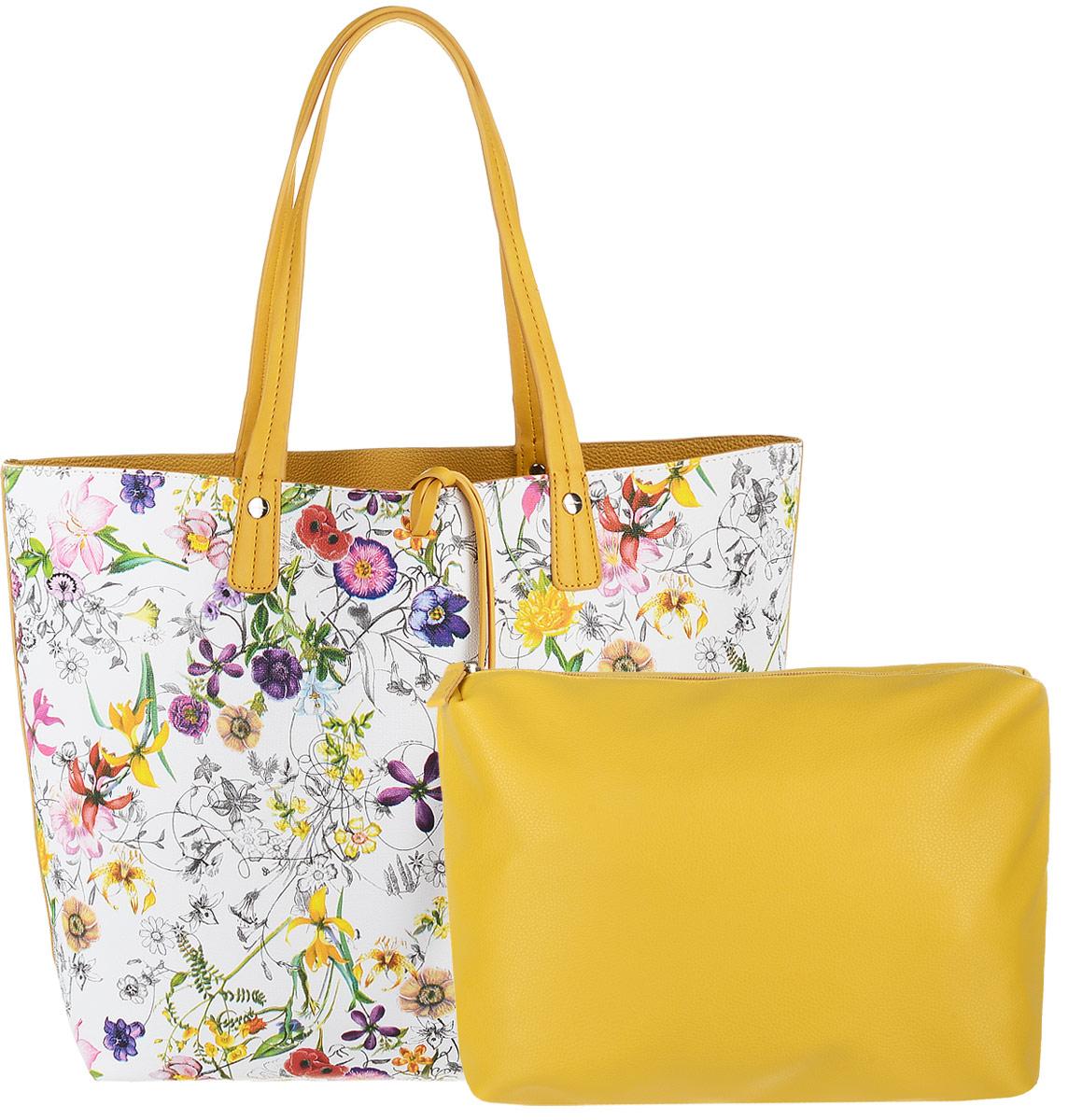 Сумка женская David Jones с косметичкой, цвет: белый, желтый. CM3318CM3318 YellowЖенская сумка David Jones выполнена из качественной экокожи. В комплекте: большая сумка с двумя ручками и косметичка. Большая сумка, оформленная ярким цветочным принтом содержит одно вместительное отделение и не имеет застежек. Лицевая часть декорирована шнурком-подвеской из экокожи. Сумка не содержит дополнительных карманов. Внутренняя сторона выполнена из однотонной экокожи. Косметичка содержит одно отделение и застегивается на молнию. Внутри отделения - один открытый накладной карман и один врезной. Косметичка легко помещается в большую сумку.