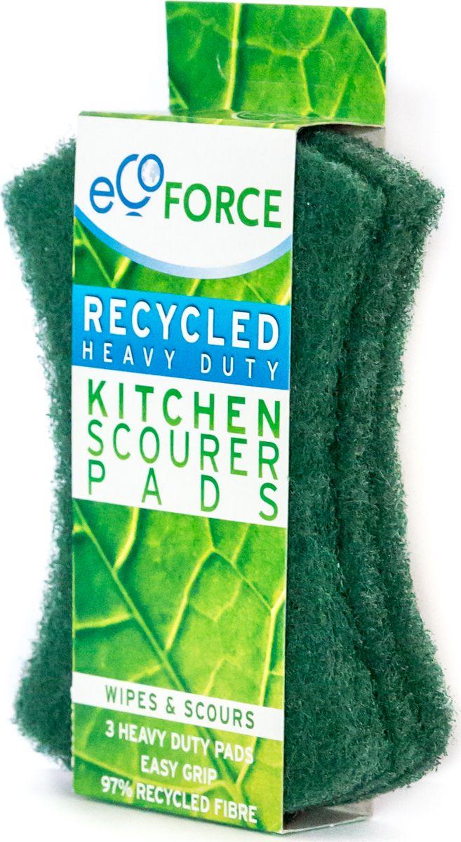 Кухонная губка EcoForce, для сильных загрязнений, цвет: зеленый, 3 шт116-02-4109/4102EcoForce – тонкие губки для повседневного использования. Предназначены для вытирания пролитых жидкостей, капель, пятен и удаления загрязнений с любых поверхностей. Не оставляют царапин, устойчивы к чистящим средствам. Имеют специальный контур для удобного захвата. Изготовлены из переработанного сырья. ПРЕИМУЩЕСТВА - для использования на кухне; - для любых поверхностей; - не оставляют царапин; - устойчивы к чистящим средствам; - изготовлены из переработанного сырья; - 3 штуки в комплекте.