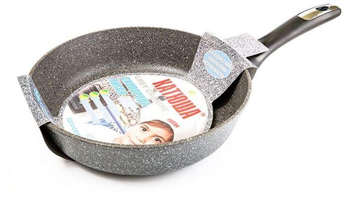 Сковорода Катюша Гранит, литая, с антипригарным покрытием. Диаметр 28 см7128Сковорода а/п литая 28см. Толщина стенок-4мм, толщина дна-6мм