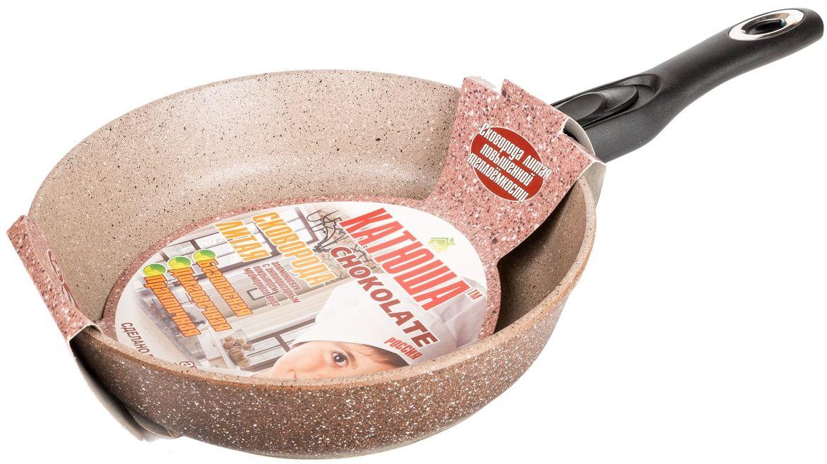 Сковорода Катюша Гранит, литая, с антипригарным покрытием, со съемной ручкой. Диаметр 24 см. 90249024Сковорода а/п литая 24см. съем./руч.Толщина стенок-4мм, толщина дна-6мм
