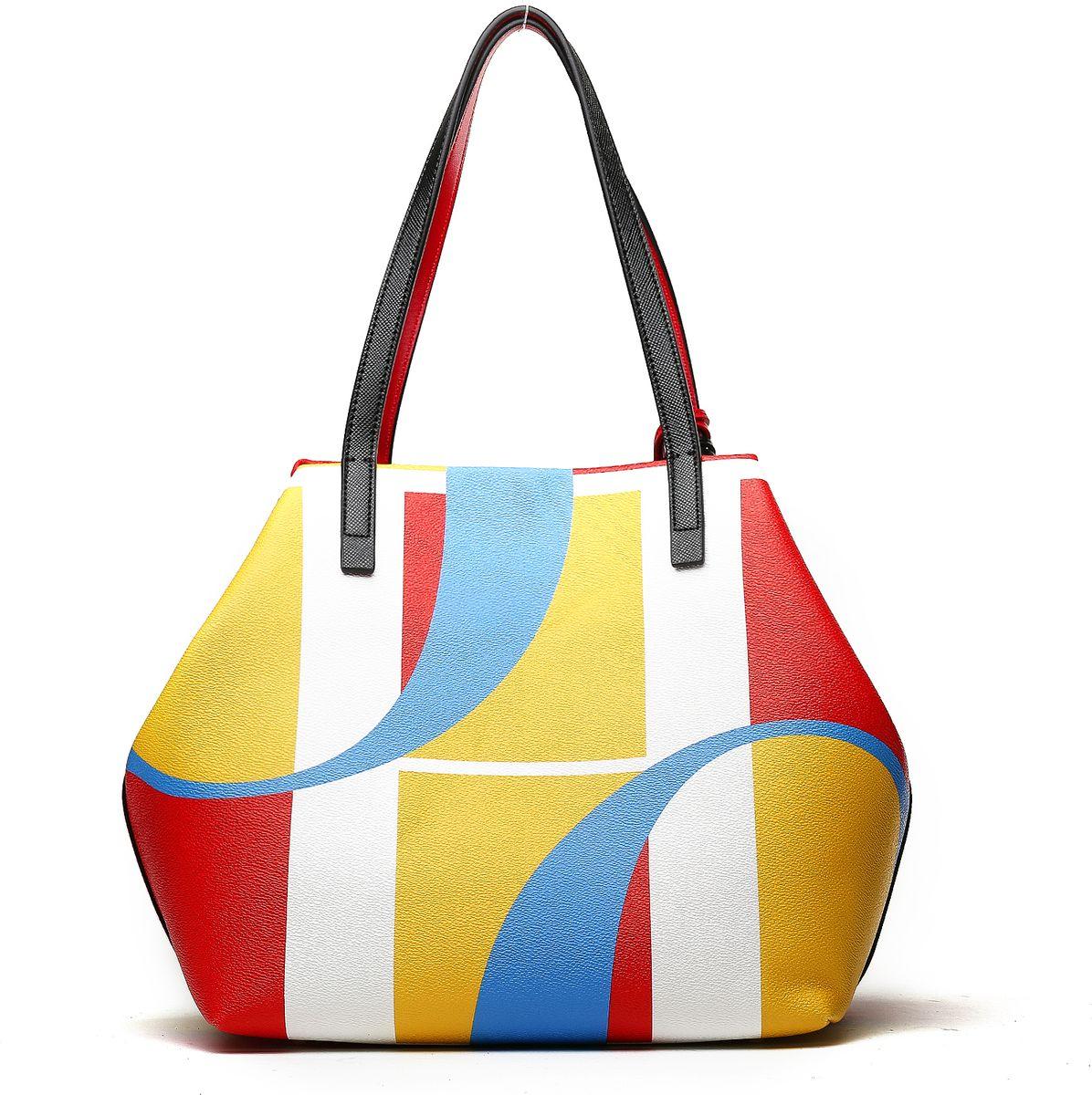 Сумка женская Pola, цвет: красный, желтый, синий. 6100161001Женская сумка Pola с оригинальным ярким рисунком. Выполнена из экокожи. Основное отделение закрывается на магнитную кнопку и дополнительно стягивается по бокам карабином. Внутри расположены один карман на молнии и два открытых кармана. На дне металлические ножки. Высота ручек 21 см. В комплекте съемный брелок в виде кисти и сердца. Цвет фурнитуры- золото.