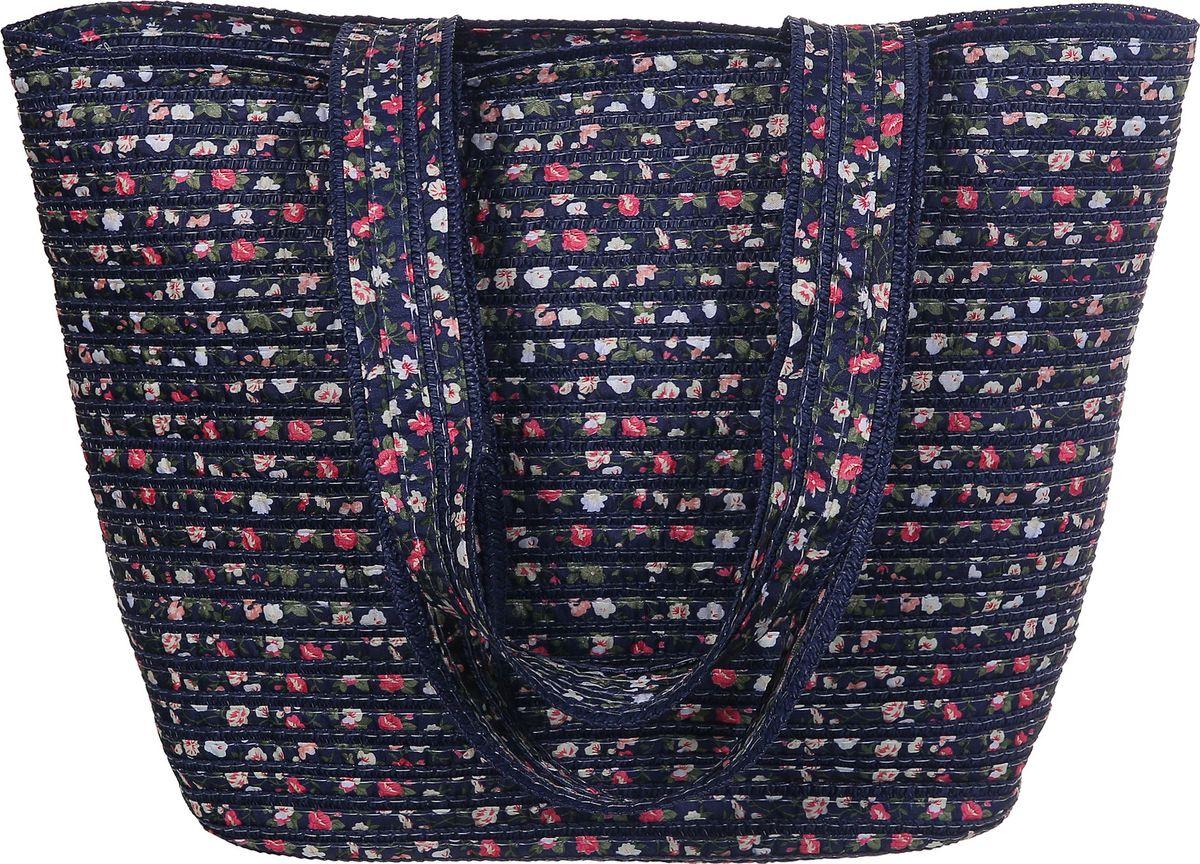 Сумка женская Модные истории, цвет: синий. 3/02573/0257Пляжная сумка большого размера выполнена из целлюлозы и текстильных вставок. Плотные ручки, позволяющие носить сумку на плече . Внутри одно отделение и два открытых кармашка. Застегивается на молнию.