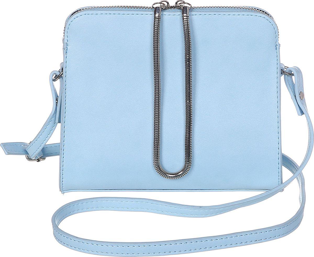 Сумка женская Модные истории, цвет: голубой. 3/0268/1813/0268/181Небольшая однотонная сумочка, зауженная к молнии. Декорирована подвижным металлическим шнурком закрепленном с двух сторон на молнии. Внутри одно отделение с двумя открытыми и одним на замочке кармашками. Имеется регулируемый кожаный ремешок, который позволит носить сумку на плече.
