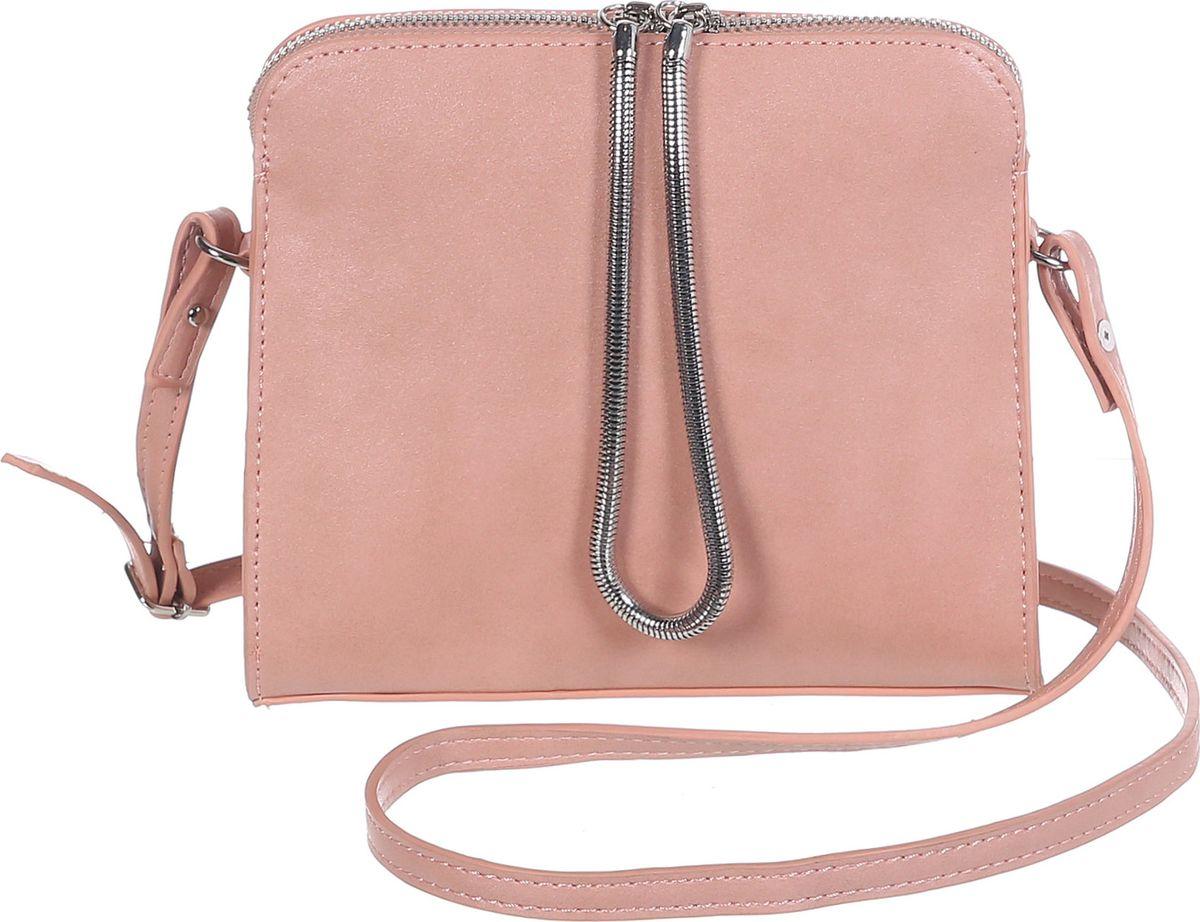 Сумка женская Модные истории, цвет: розовый. 3/0268/1173/0268/117Небольшая однотонная сумочка, зауженная к молнии. Декорирована подвижным металлическим шнурком закрепленном с двух сторон на молнии. Внутри одно отделение с двумя открытыми и одним на замочке кармашками. Имеется регулируемый кожаный ремешок, который позволит носить сумку на плече.