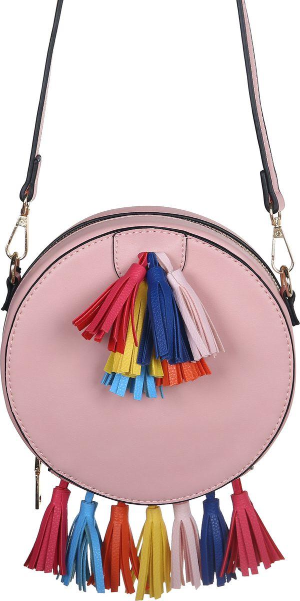 Сумка женская Модные истории, цвет: розовый. 3/02723/0272Яркая круглая по форме сумка в нежно розовом цвете. Закрывается на молнию. Декорирована разноцветными кисточками у основания и сверху на лицевой части сумки. Внутри одно отделение с открытым кармашком. На внешней задней части сумки открытый карман. Имеется регулируемый кожаный ремешок, который позволит носить сумку на плече.