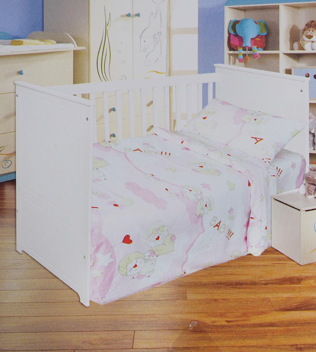 Bonne Fee Комплект белья для новорожденных Гномики цвет розовый