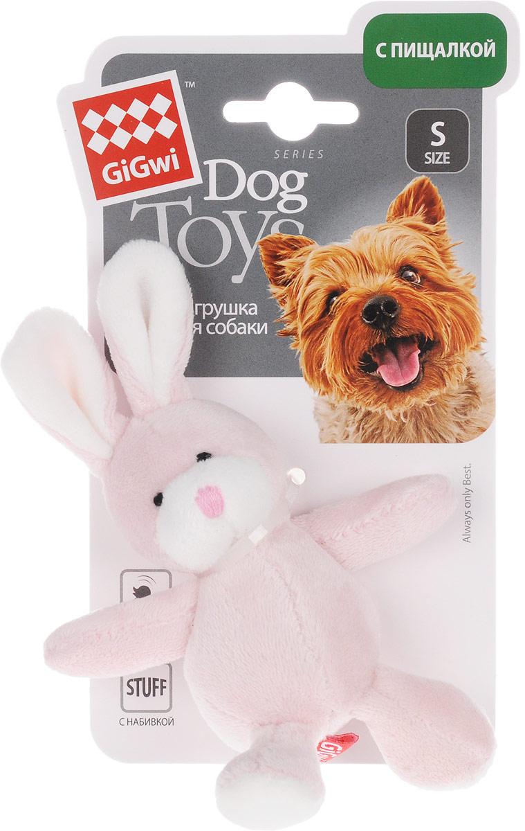 Игрушка для собак GiGwi Заяц, с пищалкой, длина 14,5 см75119Игрушка для собак GiGwi Заяц набивкой и дополнена текстильным покрытием. Игрушка подходит для активной игры. Прочный, неабразивный, нетоксичный материал не ранит зубы. Игрушка оснащена пищалкой.