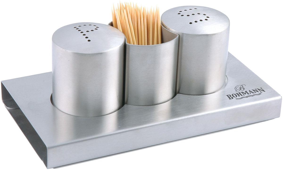 Набор для специй Bohmann, цвет: стальной, 3 предмета. 7814BH7814BHНабор для специй Соль & перец. На подставке. Стаканчик для зубочисток. Материал - нержавеющая сталь.