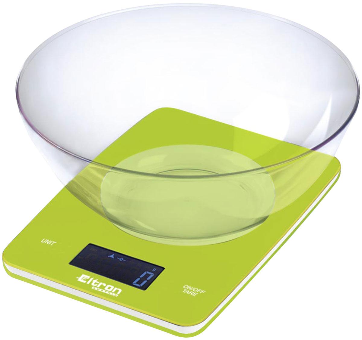 Весы кухонные Eltron, электронные, цвет: зеленый, до 5 кг. 9263EL9263ELЭлектронные кухонные весы. Современный дизайн. Двухкнопочный механизм. ЖК-дисплей. Съемная прозрачная чаша. Максимальный вес - 5 кг. Показывает вес в унциях, фунтах, гр, мл. 1х 3В батарея входит в комплект.