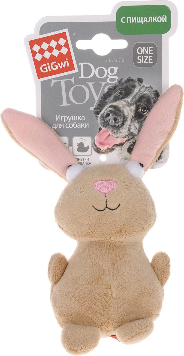 Игрушка для собак GiGwi Кролик, с пищалкой, длина 16 см75053Игрушка для собак GiGwi Кролик с набивкой дополнена текстильным покрытием. Игрушка подходит для активной игры. Прочный, неабразивный, нетоксичный материал не ранит зубы. Игрушка оснащена пищалкой.