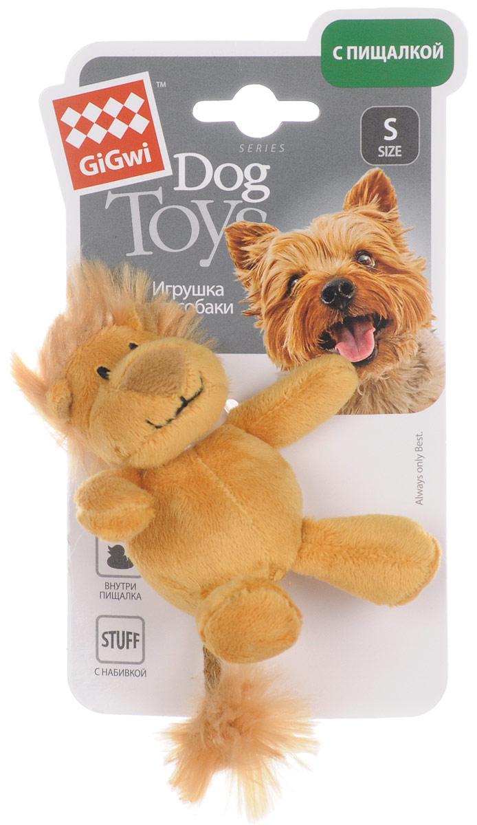 Игрушка для собак GiGwi Лев, с пищалкой, длина 10 см75103Игрушка для собак GiGwi Лев порадует вашу собаку и доставит ей море веселья. Несмотря на большое количество материалов, большинство собак для игры выбирают классические плюшевые игрушки. Такие игрушки можно носить, уютно прижиматься во сне, жевать. Некоторые собаки просто любят взять в зубы игрушку и ходить с ней повсюду. Мягкие игрушки сохраняют запах питомца, поэтому он каждый раз к ней возвращается. Милые, мягкие и приятные зверушки характеризуются высоким качеством исполнения и привлекательным дизайном. Внутри игрушки нет наполнителя, что поможет сохранить чистоту в помещении. Игрушка снабжена пищалкой.