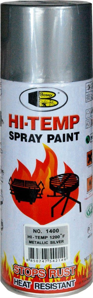 Аэрозольная краска Bosny, до 650°С, цвет: 1400 серебряный металлик, 400 мл1400Термостойкая краска производится из специальной смолы. Жаростойкая, выдерживает нагрев до 650С. Не расслаивается и не отстает при воздействии высокой температуры. Жаростойкая краска изготовлена на основе модифицированных алкидных смол с добавлением специального компонента - стирола, что обеспечивает очень хорошую стойкость при контакте со стальными поверхностями. Краска станет идеальным средством для работы на площадях, где есть резкий контраст температур. Она будет идеальна для покраски труб тепловых сетей, а также для использования на заводах и котельных, где оборудование и технические коммуникации испытывают большое температурное воздействие. Примечательно и то, что она может быть нанесена даже на ржавую поверхность, если есть необходимость сохранить участок этого материала, а средств на его замену нет. Она позволит усилить термо - защитные свойства любых материалов и повысить их сопротивляемость высокотемпературному воздействию. Срок годности — 5 лет.