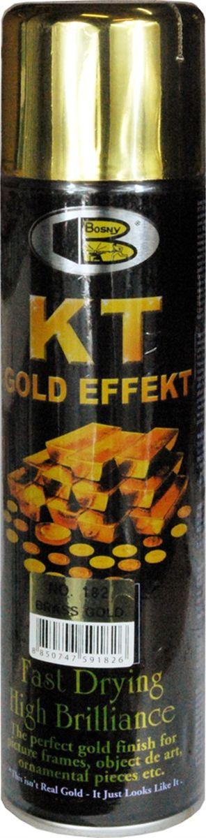 Аэрозольная краска Bosny 18 Карат, цвет: 182 латунь металлик, 300 мл182Золотая краска (аэрозольная) со специальным золотым пигментом повышенной яркости и стойкости. Специальный пигмент, в составе позволяет любым поверхностям, покрытым краской – деревянным, пластиковым или металлическим, приобретать ярко-выраженный эффект настоящего золота или меди. Цвета Медный, Золото, Золотая ветвь и Золотая искра рекомендованы к использованию при производстве наружных работ. Они очень стойкие к атмосферным явлениям – дождю, снегу, морозу или солнцепеку. Не истираются и имеют достаточно продолжительный срок службы. Золотая краска этой марки является прекрасным средством для декорирования деревянных, металлических, гипсовых или пластиковых поверхностей внутри квартиры, имеют слабовыраженный запах и прекрасные художественно-эстетические свойства. Она распределяется очень ровным слоем, быстро сохнет и имеет очень красивый оттенок. Аэрозольной краской Золото № 181 и 182 можно покрывать рамы картин, ножки кресел и стульев, придавая им цвет античного золота,...