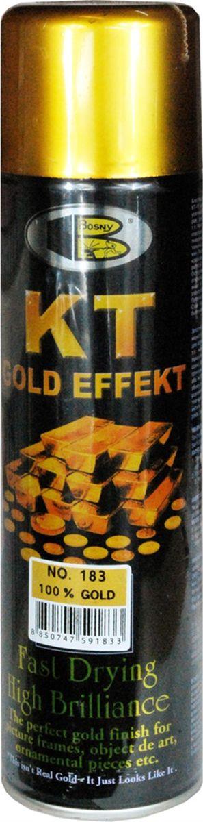 Аэрозольная краска Bosny 18 Карат, цвет: 183 золото металлик, 300 мл183Золотая краска (аэрозольная) со специальным золотым пигментом повышенной яркости и стойкости. Специальный пигмент, в составе позволяет любым поверхностям, покрытым краской – деревянным, пластиковым или металлическим, приобретать ярко-выраженный эффект настоящего золота или меди. Цвета Медный, Золото, Золотая ветвь и Золотая искра рекомендованы к использованию при производстве наружных работ. Они очень стойкие к атмосферным явлениям – дождю, снегу, морозу или солнцепеку. Не истираются и имеют достаточно продолжительный срок службы. Золотая краска этой марки является прекрасным средством для декорирования деревянных, металлических, гипсовых или пластиковых поверхностей внутри квартиры, имеют слабовыраженный запах и прекрасные художественно-эстетические свойства. Она распределяется очень ровным слоем, быстро сохнет и имеет очень красивый оттенок. Аэрозольной краской Золото № 181 и 182 можно покрывать рамы картин, ножки кресел и стульев, придавая им цвет античного золота,...