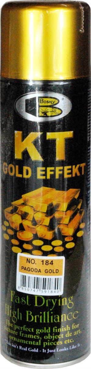 Аэрозольная краска Bosny 18 Карат, цвет: 184 золотая ветвь металлик, 300 мл184Золотая краска (аэрозольная) со специальным золотым пигментом повышенной яркости и стойкости. Специальный пигмент, в составе позволяет любым поверхностям, покрытым краской – деревянным, пластиковым или металлическим, приобретать ярко-выраженный эффект настоящего золота или меди. Цвета Медный, Золото, Золотая ветвь и Золотая искра рекомендованы к использованию при производстве наружных работ. Они очень стойкие к атмосферным явлениям – дождю, снегу, морозу или солнцепеку. Не истираются и имеют достаточно продолжительный срок службы. Золотая краска этой марки является прекрасным средством для декорирования деревянных, металлических, гипсовых или пластиковых поверхностей внутри квартиры, имеют слабовыраженный запах и прекрасные художественно-эстетические свойства. Она распределяется очень ровным слоем, быстро сохнет и имеет очень красивый оттенок. Аэрозольной краской Золото № 181 и 182 можно покрывать рамы картин, ножки кресел и стульев, придавая им цвет античного золота,...