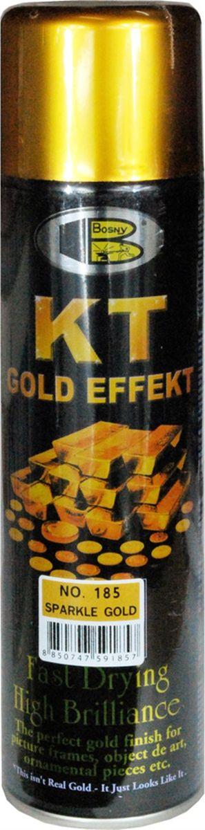 Аэрозольная краска Bosny 18 Карат, цвет: 185 золотая искра металлик, 300 мл185Золотая краска (аэрозольная) со специальным золотым пигментом повышенной яркости и стойкости. Специальный пигмент, в составе позволяет любым поверхностям, покрытым краской – деревянным, пластиковым или металлическим, приобретать ярко-выраженный эффект настоящего золота или меди. Цвета Медный, Золото, Золотая ветвь и Золотая искра рекомендованы к использованию при производстве наружных работ. Они очень стойкие к атмосферным явлениям – дождю, снегу, морозу или солнцепеку. Не истираются и имеют достаточно продолжительный срок службы. Золотая краска этой марки является прекрасным средством для декорирования деревянных, металлических, гипсовых или пластиковых поверхностей внутри квартиры, имеют слабовыраженный запах и прекрасные художественно-эстетические свойства. Она распределяется очень ровным слоем, быстро сохнет и имеет очень красивый оттенок. Аэрозольной краской Золото № 181 и 182 можно покрывать рамы картин, ножки кресел и стульев, придавая им цвет античного золота,...