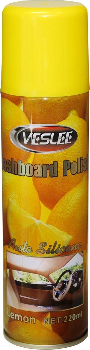 Очиститель-полироль Veslee Лимон, с силиконом, для пластика, кожи и резины, 220 мл (аэрозоль)VL-17DПрименяется для ухода за приборной панелью, а также различными пластиковыми, резиновыми и виниловыми элементами салона автомобиля. Удаляет пыль и грязь, пятна и отпечатки пальцев. Образует на поверхности плёнку с пылеотталкивающими свойствами, придаёт поверхности блеск. Защищает от негативного воздействия ультрафиолета и предотвращает появление микротрещин. Обладает свежим ароматом, нейтрализующим неприятные запахи.