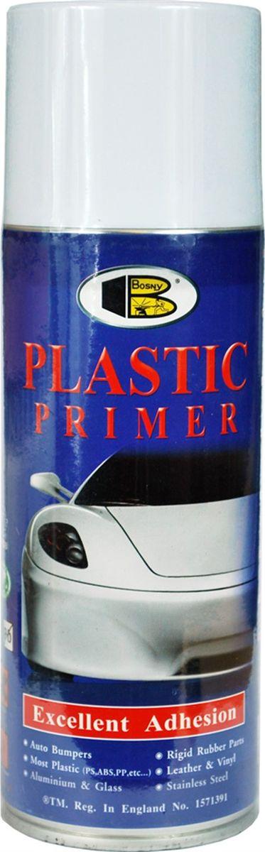 Аэрозольный грунт для пластика Bosny, 400 млPPБыстросохнущий грунт plastic primer (прозрачный) на основе модифицированного алкида, созданный фирмой Bosny специально для того, чтобы обеспечить хорошее прилипание краски к пластмассовым изделиям, таким как авто бамперы, спойлеры, твердые резиновые детали, пластмассовые приборы и различные пластмассовые детали. Его особенностью является очень низкий расход - с помощью одного баллончика можно загрунтовать около 6 кв. метров поверхности. Этот однокомпонентный грунт для пластика справляется не только с пластиком. Он действует при нанесении его даже на самые сложные материалы для окрашиваний, включая алюминий, ПВХ, стеклопластик, поливинил, многие виды пластмасс, - включая СТР, ABS, PS, PE, - и изделия из кожи. После нанесения грунтовки на все другие виды материалов, поверхность можно окрашивать алкидными и акриловыми красками. Грунтовки действует даже на самых сложных для окрашивания поверхностях включая алюминий, кожу, винилы и большинство видов пластмасс, а именно, СТР, ABS, PS, PE и...
