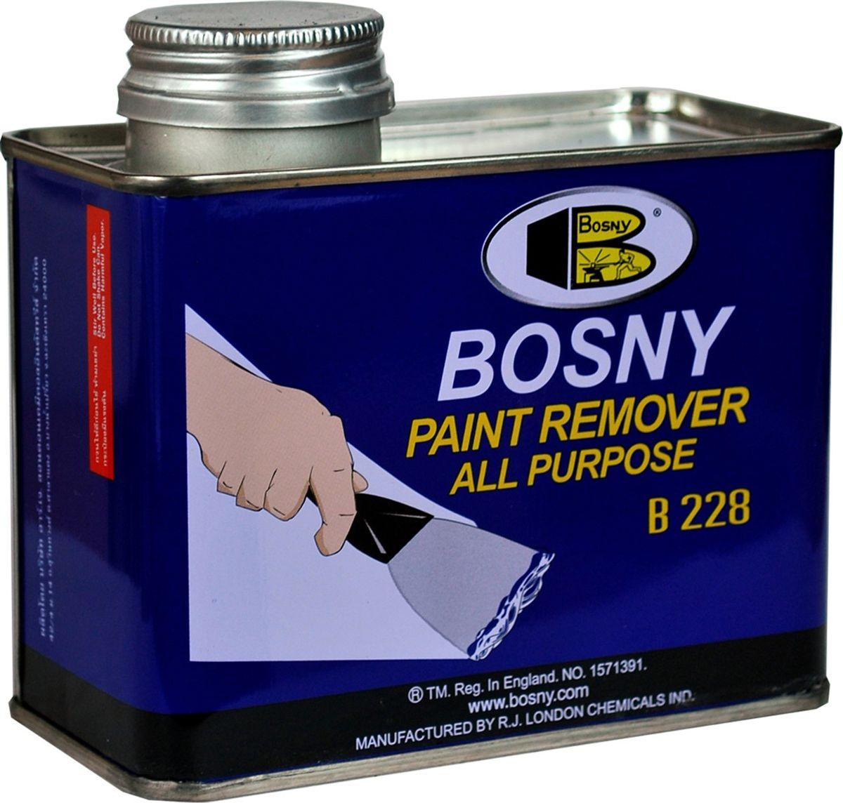Смывка краски-гель Bosny, универсальная, 3,5 кг228Универсальная смывка краски Bosny Paint Remover –мощное средство на гелевой основе, предназначенное для удаления всевозможных типов краски с окрашенных поверхностей быстро и эффективно, весь процесс занимает лишь несколько минут. Смывка краски Bosny Paint Remover предназначена для удаления масляных красок, синтетических эмалей, различных лаков, в том числе целлюлозных, эмалей горячей сушки, и других видов лакокрасочных покрытий. Может использоваться как для бытовых, так и для промышленных целей. Гелевая консистенция смывки имеет несколько преимуществ по сравнению с жидкими или аэрозольными составами: 1. После нанесения гелеобразный состав образует равномерный слой одинаковой толщины по всей поверхности. 2. Можно легко и точно дозировать расход материала. 3. Исключено попадание случайных брызг на соседние участки поверхности. 4. Не требует предварительного размешивания