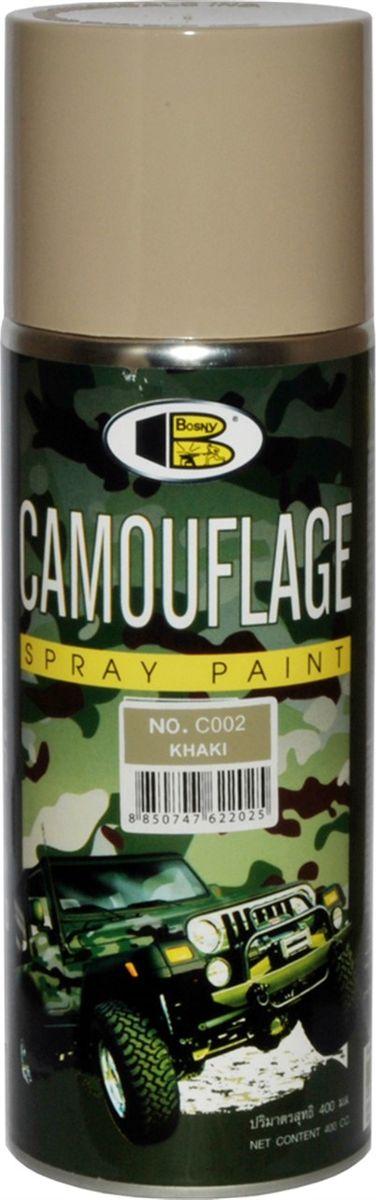 Аэрозольная краска Bosny Камуфляжная, цвет: с002 хаки, 300 млC002Светопоглощающая краска, стойкая к истиранию и сколам. Создаёт атмосферостойкое долговечное покрытие, может использоваться на большинстве поверхностей, в том числе на металле, дереве, твёрдом пластике, стекле. Идеально подходит для окрашивания охотничьего, рыболовного и военного снаряжения, лодок, грузовиков, вездеходов, оборудования для экспедиций. Не отражает свет, создавая эффект скрытности. Спрей-краска серии камуфляж применима для выполнения работ по покраске большинства поверхностей. Она подходит для проведения покраски металла, дерева, стекла, твердого пластика, бетона, штукатурки, ремонтной покраски комплектующих автомобилей. Также данная краска может быть применима для творчества. В ряду достоинств спрей-краски стойкость к сколам и истиранию, высокие атмосферостойкие свойства, хорошие показатели к поглощению света, его отражению и обеспечению эффекта скрытности контуров окрашенных поверхностей и предметов. Благодаря этим свойствам и эргономичной конструкции баллончиков с...