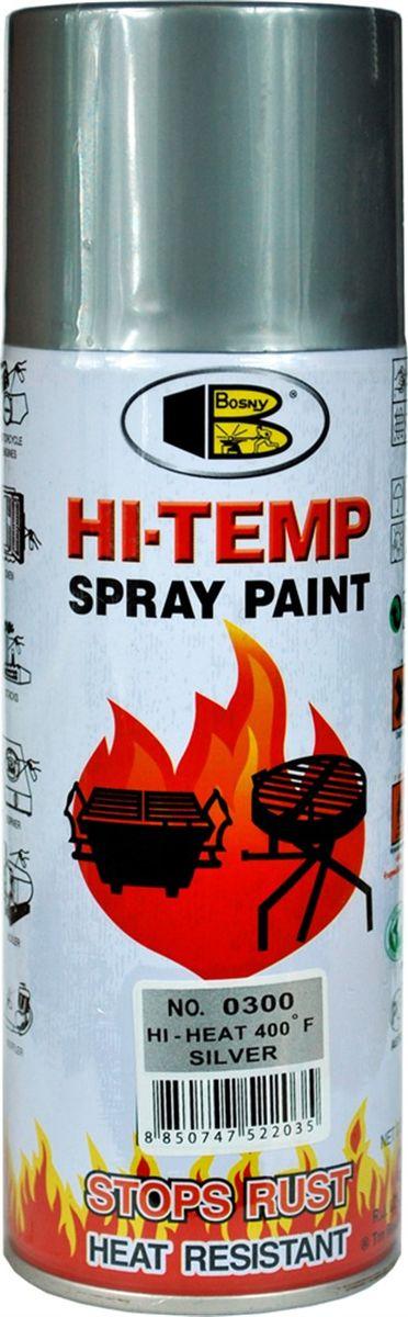 Аэрозольная краска Bosny, до 205°С, цвет: o300 серебряный, 400 млO300Термостойкая краска производится из специальной смолы. Термостойкая краска выдерживает нагрев до 205 С. Не расслаивается и не отстает при воздействии высокой температуры. Для любителей делать ремонт быстро и оперативно термостойкая краска станет настоящей палочкой - выручалочкой, так как она содержит в своем составе быстросохнущие компоненты, которые позволяют выполнять все работы по покраске в кратчайшие сроки. В качестве защитного механизма у термостойкой краски включены в состав компоненты из микрочастиц закаленного стекла, которые позволяют обеспечивать необходимый барьер для влаги. Краска станет идеальным средством для работы на площадях, где есть резкий контраст температур. Она будет идеальна для покраски труб тепловых сетей, а также для использования на заводах и котельных, где оборудование и технические коммуникации испытывают большое температурное воздействие. Примечательно и то, что она может быть нанесена даже на ржавую поверхность, если есть необходимость сохранить участок...