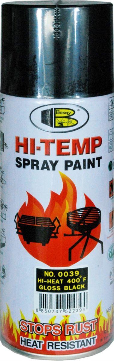 Аэрозольная краска Bosny, до 205°С, цвет: 0039 черный глянцевый, 400 млOO39Термостойкая краска производится из специальной смолы. Термостойкая краска выдерживает нагрев до 205 С. Не расслаивается и не отстает при воздействии высокой температуры. Для любителей делать ремонт быстро и оперативно термостойкая краска станет настоящей палочкой - выручалочкой, так как она содержит в своем составе быстросохнущие компоненты, которые позволяют выполнять все работы по покраске в кратчайшие сроки. В качестве защитного механизма у термостойкой краски включены в состав компоненты из микрочастиц закаленного стекла, которые позволяют обеспечивать необходимый барьер для влаги. Краска станет идеальным средством для работы на площадях, где есть резкий контраст температур. Она будет идеальна для покраски труб тепловых сетей, а также для использования на заводах и котельных, где оборудование и технические коммуникации испытывают большое температурное воздействие. Примечательно и то, что она может быть нанесена даже на ржавую поверхность, если есть необходимость сохранить участок...
