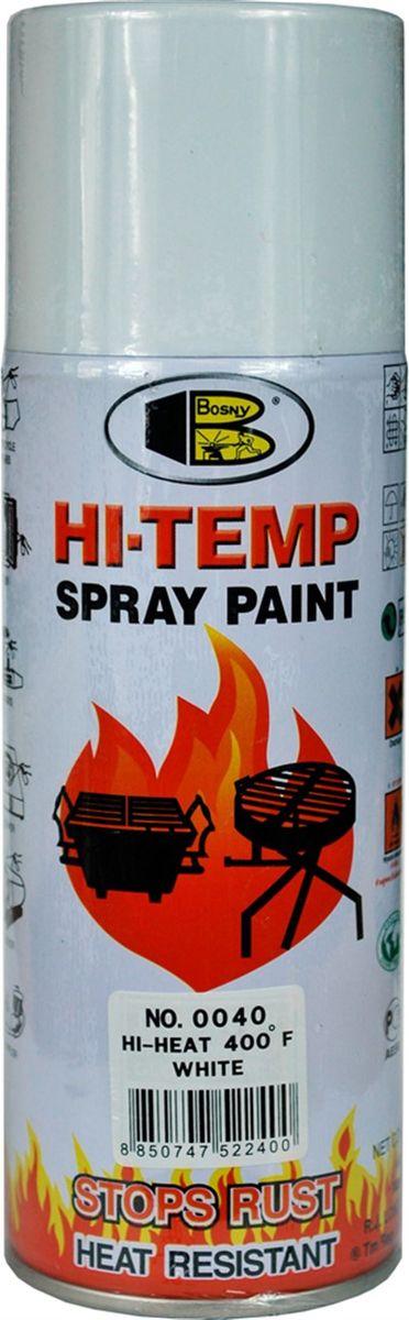Аэрозольная краска Bosny, до 205°С, цвет: 0040 белый глянцевый, 400 млOO40Термостойкая краска производится из специальной смолы. Термостойкая краска выдерживает нагрев до 205 С. Не расслаивается и не отстает при воздействии высокой температуры. Для любителей делать ремонт быстро и оперативно термостойкая краска станет настоящей палочкой - выручалочкой, так как она содержит в своем составе быстросохнущие компоненты, которые позволяют выполнять все работы по покраске в кратчайшие сроки. В качестве защитного механизма у термостойкой краски включены в состав компоненты из микрочастиц закаленного стекла, которые позволяют обеспечивать необходимый барьер для влаги. Краска станет идеальным средством для работы на площадях, где есть резкий контраст температур. Она будет идеальна для покраски труб тепловых сетей, а также для использования на заводах и котельных, где оборудование и технические коммуникации испытывают большое температурное воздействие. Примечательно и то, что она может быть нанесена даже на ржавую поверхность, если есть необходимость сохранить участок...