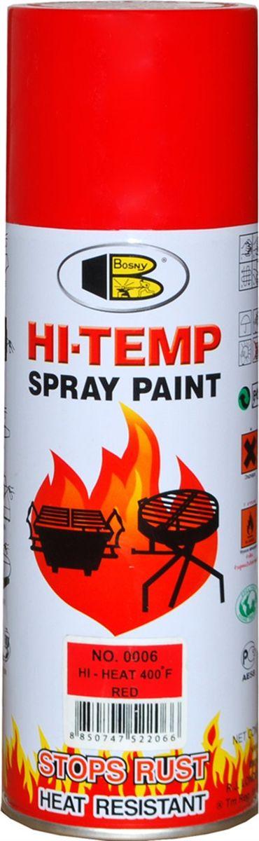 Аэрозольная краска Bosny, до 205°С, цвет: 0006 красный, 400 млOOO6Термостойкая краска производится из специальной смолы. Термостойкая краска выдерживает нагрев до 205 С. Не расслаивается и не отстает при воздействии высокой температуры. Для любителей делать ремонт быстро и оперативно термостойкая краска станет настоящей палочкой - выручалочкой, так как она содержит в своем составе быстросохнущие компоненты, которые позволяют выполнять все работы по покраске в кратчайшие сроки. В качестве защитного механизма у термостойкой краски включены в состав компоненты из микрочастиц закаленного стекла, которые позволяют обеспечивать необходимый барьер для влаги. Краска станет идеальным средством для работы на площадях, где есть резкий контраст температур. Она будет идеальна для покраски труб тепловых сетей, а также для использования на заводах и котельных, где оборудование и технические коммуникации испытывают большое температурное воздействие. Примечательно и то, что она может быть нанесена даже на ржавую поверхность, если есть необходимость сохранить участок...
