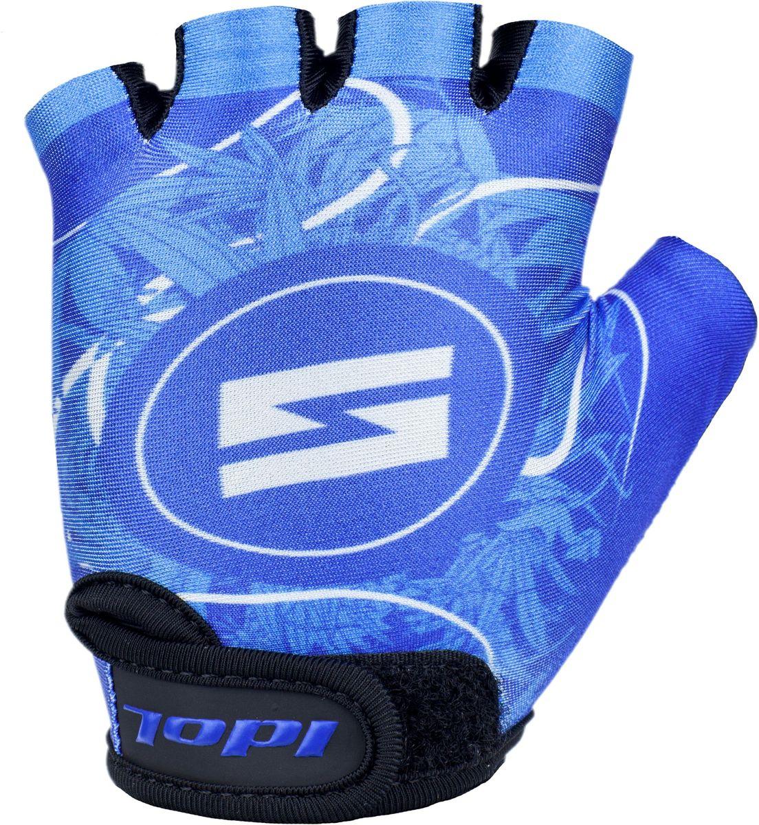 Перчатки велосипедные для мальчика Idol Guron, цвет: синий. Размер 8-13 лет2723Велосипедные перчатки подростковые для мальчиков Idol, GURON 2723 предназначены для велоспорта, велотуризма, велосипедных прогулок. Возраст 8-13 лет - Открытые пальцы - Верх: дышащая высококачественная лакра повышенной эластичности - Ладонь: синтетическая кожа Amara - Гелевая вставка на ладони - Веревочные петли для снимания - Липучка для фиксации перчатки на руке Высокое качество материалов, стильный дизайн, функциональность и прочность выделяют велоперчатки Idol среди прочих.
