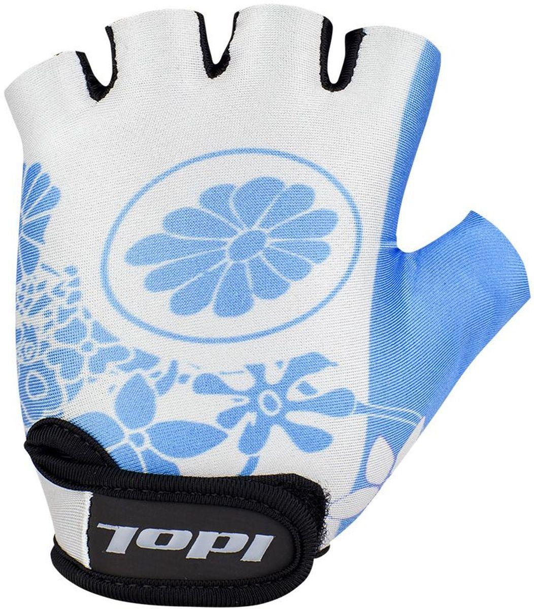 Перчатки велосипедные для девочки Idol Flossi, цвет: голубой. Размер 8-13 лет2719Велосипедные перчатки подростковые для девочек Idol, FLOSSI 2719 предназначены для велоспорта, велотуризма, велосипедных прогулок. Возраст 8-13 лет - Открытые пальцы - Верх: дышащая высококачественная лакра повышенной эластичности - Ладонь: синтетическая кожа Amara - Гелевая вставка на ладони - Веревочные петли для снимания - Липучка для фиксации перчатки на руке Высокое качество материалов, стильный дизайн, функциональность и прочность выделяют велоперчатки Idol среди прочих.