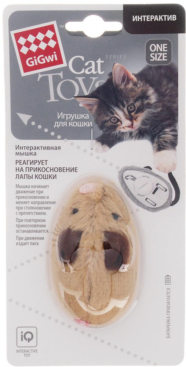 Игрушка для кошек GiGwi Интерактивная мышка, длина 8,5 см75240Игрушка для кошек GiGwi Интерактивная мышка создана для пробуждения в кошке охотничьего инстинкта. Игрушка изготовлена из пластика и обтянута мягкой тканью. Мышка начинает движение при прикосновении и меняет направление при столкновении с препятствием. При повторном прикосновении останавливается. При движении издает писк. Для включения и выключения используйте выключатель, расположенный снизу. Рекомендуется использовать игрушку на ровной поверхности. Игрушка работает от батарейки типа cr2450 (входит в комплект). С игрушкой GiGwi Интерактивная мышка вашей кошке не придется скучать. Размеры игрушки (без учета хвоста): 85 х 5 х 3,5 см.