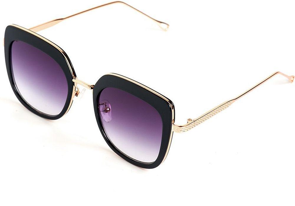 Очки солнцезащитные женские Selena, цвет: золотистый, черный. 8003552180035521100% защита от ультрафиолетовых лучей. Размер (ширина линзы*ширина моста-длина дужки) 54*18-150