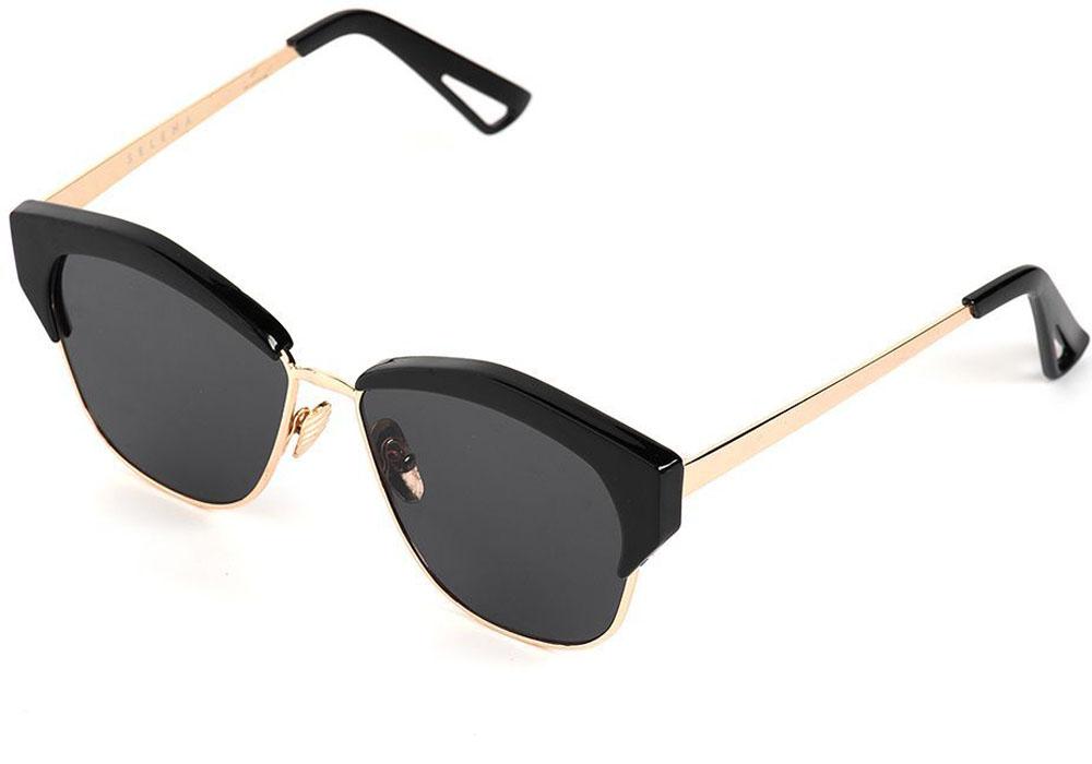 Очки солнцезащитные женские Selena, цвет: золотистый, черный. 8003560180035601100% защита от ультрафиолетовых лучей. Размер (ширина линзы*ширина моста-длина дужки) 56*20-140