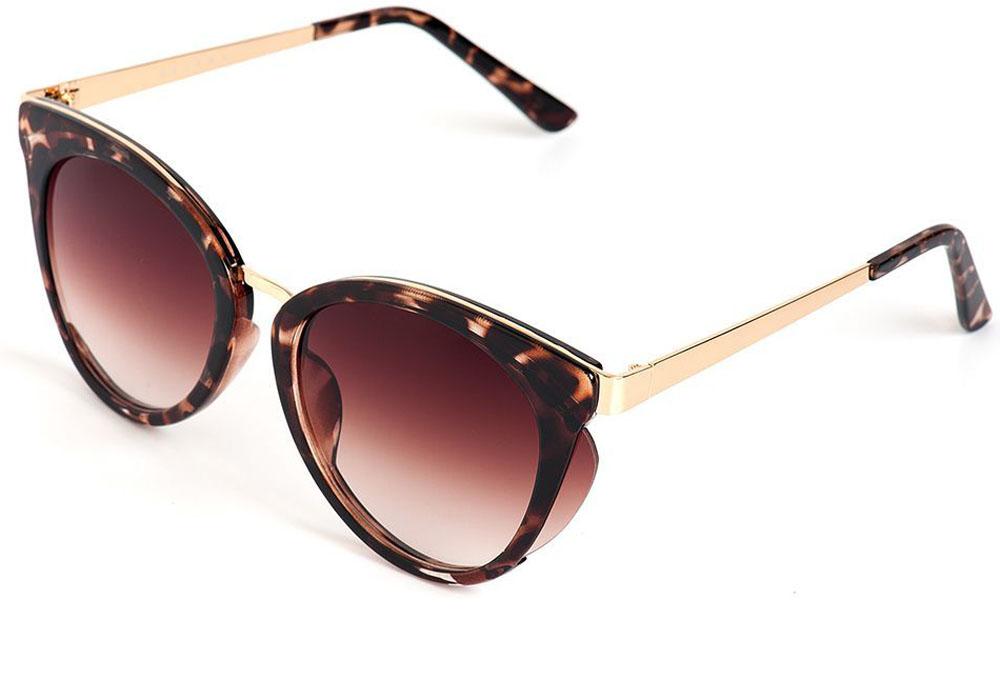Очки солнцезащитные женские Selena, цвет: золотистый, коричневый. 8003564180035641100% защита от ультрафиолетовых лучей. Размер (ширина линзы*ширина моста-длина дужки) 56*20-135
