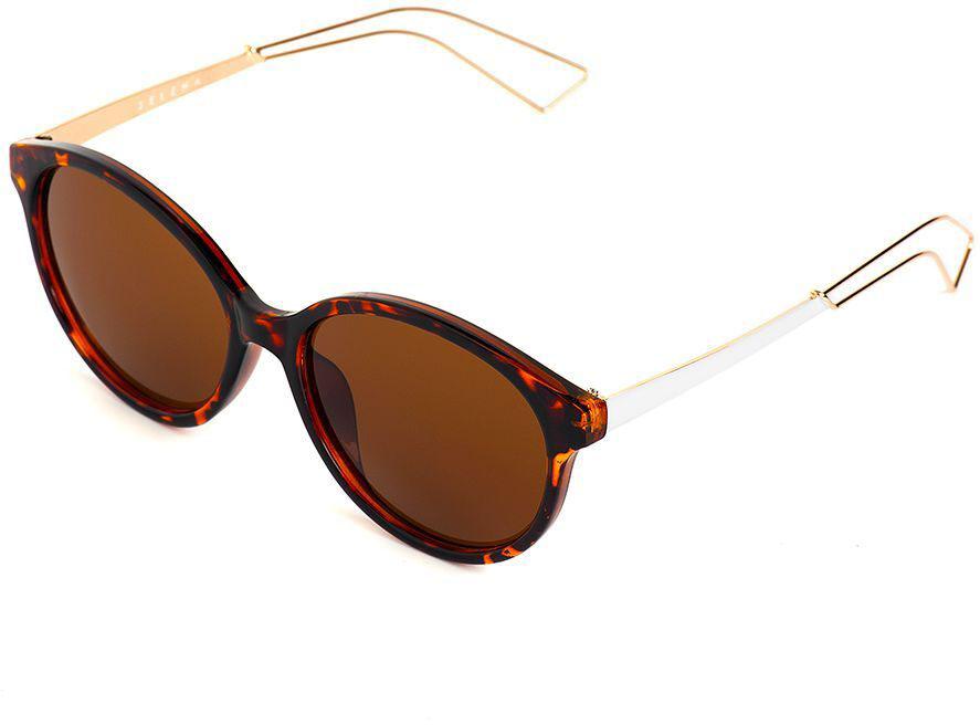 Очки солнцезащитные женские Selena, цвет: белый, коричневый. 8003606180036061100% защита от ультрафиолетовых лучей. Размер (ширина линзы*ширина моста-длина дужки) 55*17-140